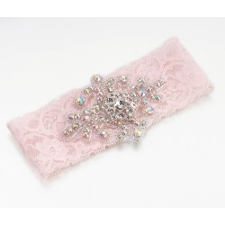 Giarrettiera rosa in pizzo con gioiello