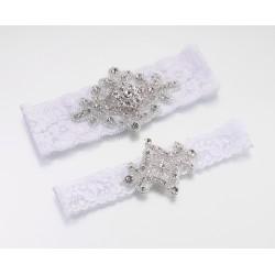 Giarrettiere bianche in pizzo con gioiello set 2 pezzi