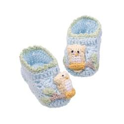 Scarpette per bambino blu con gufetti da 0 a 6 mesi