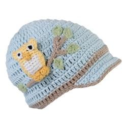 Cappellino con gufetti blu per bambini da 0 a 6 mesi