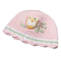 Cappellino rosa per bebè da 0 a 6 mesi con gufetto