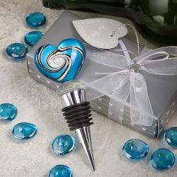 Tappabottiglie in vetro di Murano con cuore azzurro
