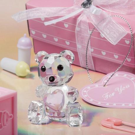 Orsetto di cristallo con cuoricino rosa