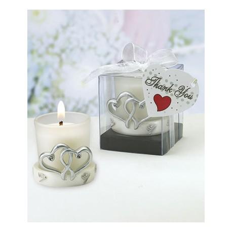 Interlocking Silver Heart Design Candle Holders