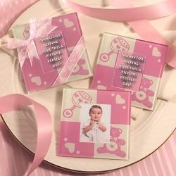 Sottobicchiere di vetro rosa per neonati