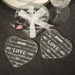Sottobicchieri di vetro a forma di cuore a tema love set 2 pezzi