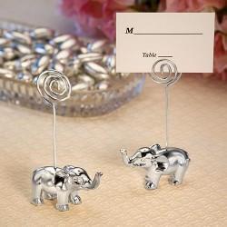 Segnaposto e segnatavolo con elefantino argentato
