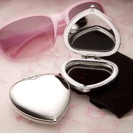Specchietto a forma di cuore bianco