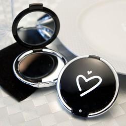 Specchietto da borsa nero con cuore