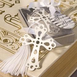 Segnalibro con croce e nappa bianca
