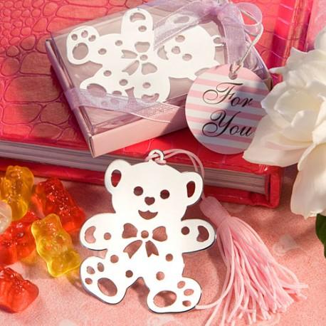 Segnalibro con orsetto e laccio rosa