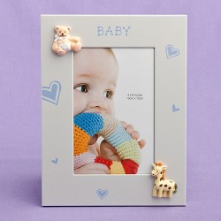 Cornice a tema bambino con cuoricini azzurri
