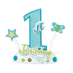 1st Birthday Cake Topper Blue