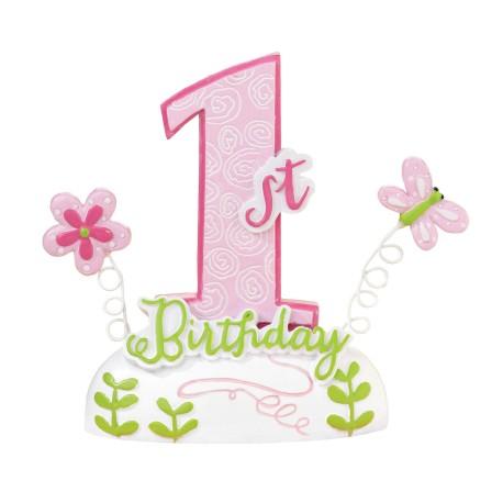 Cake topper 1° compleanno rosa