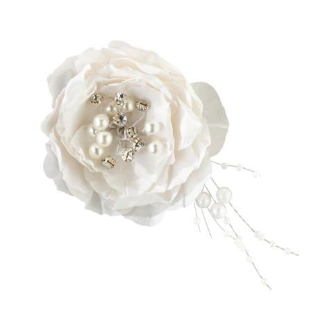 Clip per capelli con rosa bianca vintage