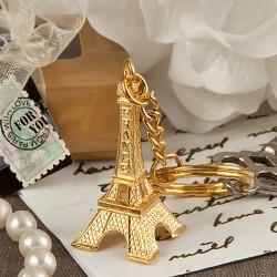 Portachiavi dorato con Tour Eiffel
