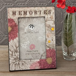 Cornice portafoto con fantasia floreale sul beige