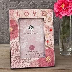 Cornice portafoto con fantasia floreale sul rosso