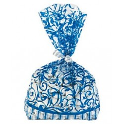 12 X Navy Blue Swirl Cellophane Bags