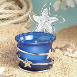 Portacandela blu con stelle marine