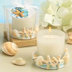 Portacandele con conchiglie e stelle marine