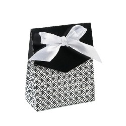 Scatole per bomboniere a fantasia nere con fiocco set 12 pezzi