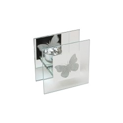 Portacandele in vetro a tema farfalle