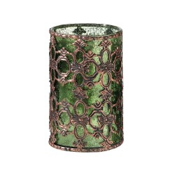 Portacandele verde vintage in vetro