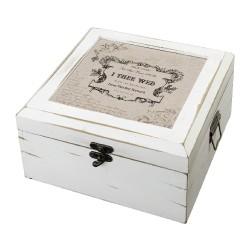 Scatoletta vintage in legno bianco a tema true love
