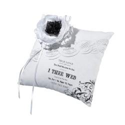 Cuscino portafedi bianco e nero con fiore di raso e tulle