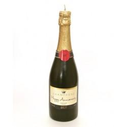 Candela a forma di bottiglia di champagne per anniversario