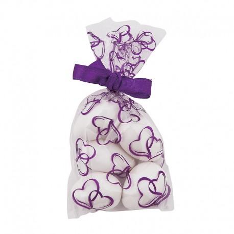 25 X Mini Purple Hearts Cellophane Bags
