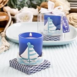Portacandele blu con barca a vela