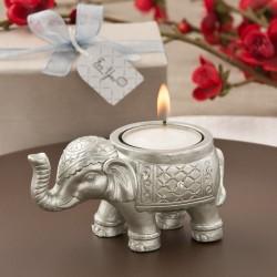 Portacandele argentato a forma di elefantino indiano