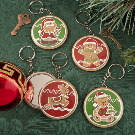 Gingerbread Themed Christmas Holiday Pocket Mirror With Key Chain