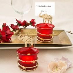Portacandele rosso a tema indiano con elefantino