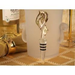 Tappabottiglie in vetro di Murano bianco e dorato