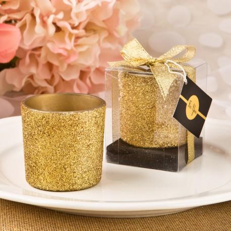 Portacandele dorato glitterato