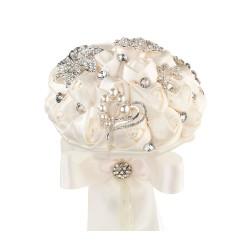 Bouquet con fiori di cristallo avorio