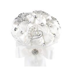 Bouquet con fiori di cristallo bianchi