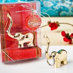 Porta anelli a forma di elefantino indiano dorato