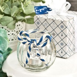 Portacandele a tema nautico con corda blu e bianca
