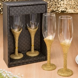 Golden Elegance Collection Set Of 2 Wedding Toasting Champagne Glasses