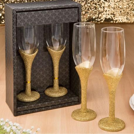 Golden Elegance Collection Set Of 2 Wedding Toasting Champagne Glasses