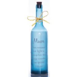 Bottiglia di vetro con luce interna e scritta Mum