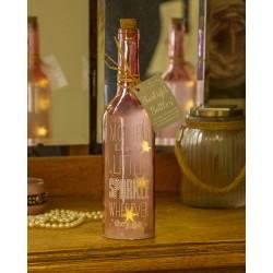 Bottiglia di vetro con luce interna e scritta Mothers