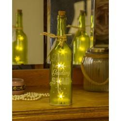 Bottiglia di vetro con luce interna e scritta Grandma
