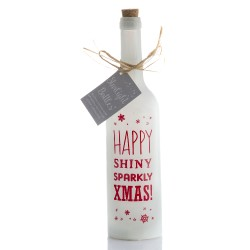 Bottiglia di vetro con luce interna e frase Sparkly Christmas