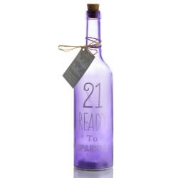 Bottiglia di vetro con luce interna per 21° compleanno