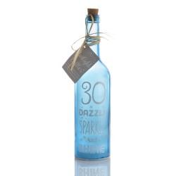 Bottiglia di vetro con luce interna per 30° compleanno